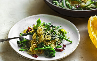 Brussels Sprouts, Broccoli and Kale with Spaghetti Squash