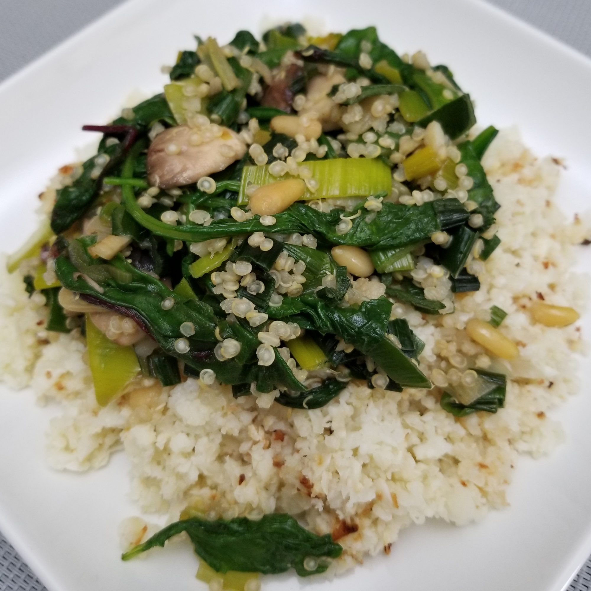 Quinoa, Greens and Pine Nuts Stir-Fry