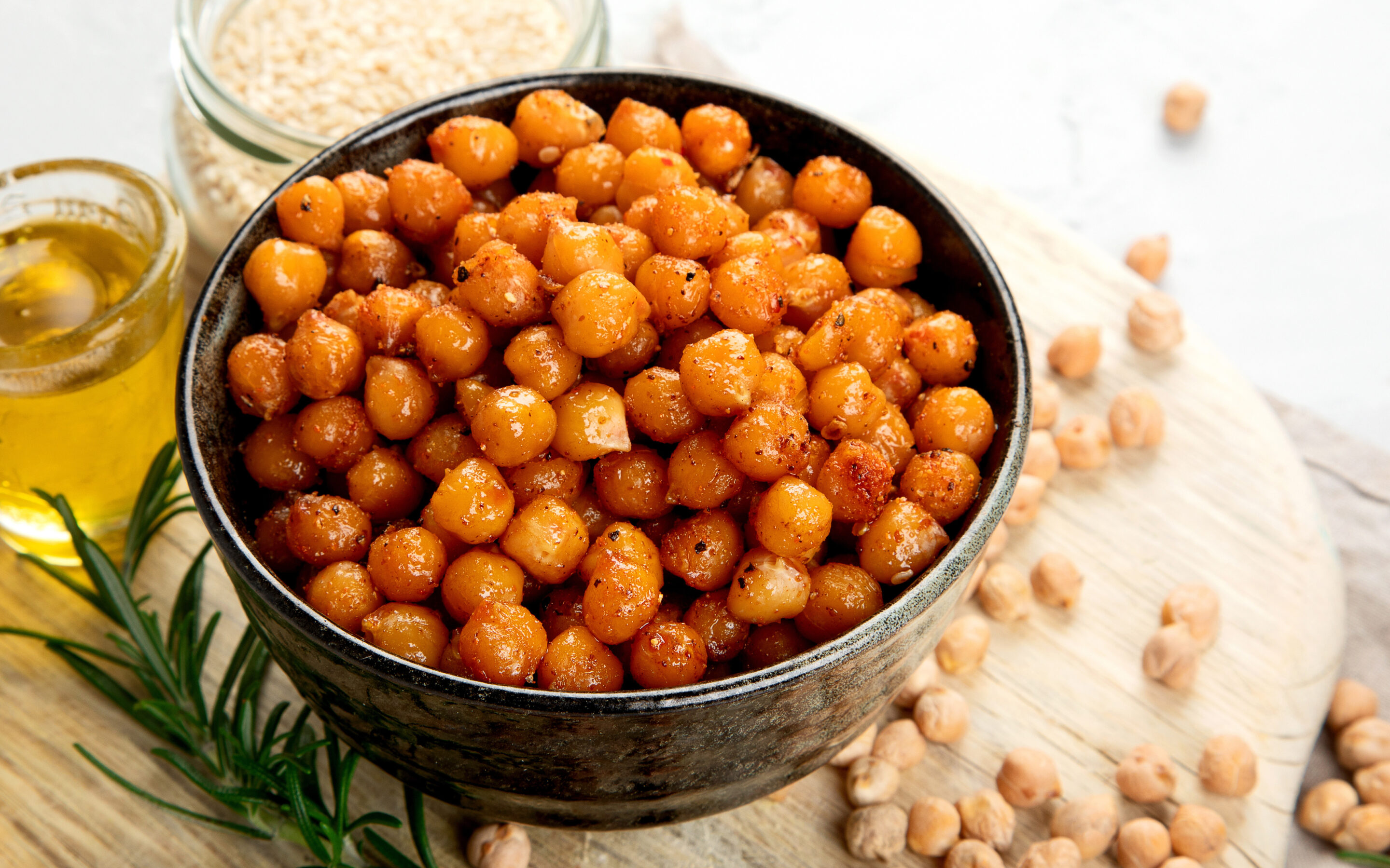 Homemade roasted chickpeas in a bowl