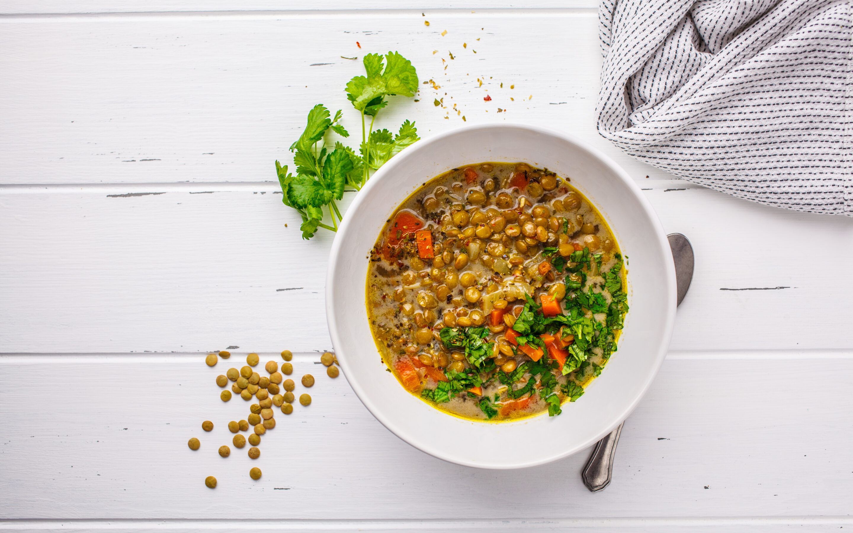 Bowl of homemade lentil soup